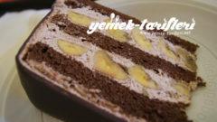 Ev Yapımı Çikolatalı Muzlu Pasta